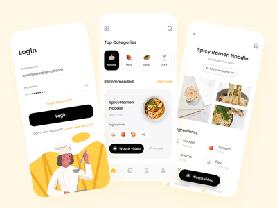 Recipe App food app cooking app design daily ui mockup design mockup mobile ui mobile app design dailyui app mobile restaurant drink food eat learn cook cooking recipes recipe