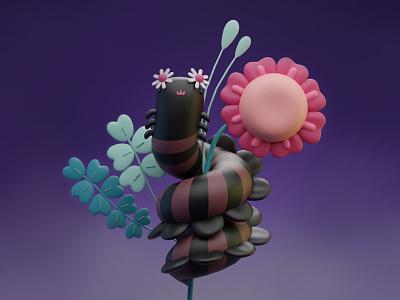 Bug with his flowers art direction artist composing 3d artist 3d art animation logo illustration