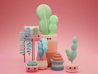 Everything Plants, Cactus & Succulents cactus succulents plants blender3dart blender blender3d app web concept art illustration composing artist art direction animation 3d artist 3d art