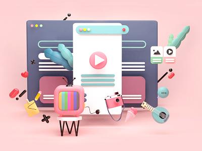 Website Landing Page icons mobile design mobile ui uiux ui design art design blender app web concept art illustration composing artist art direction animation 3d artist 3d art