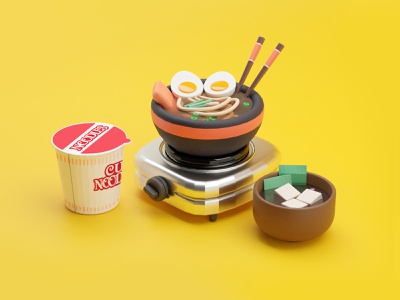 NOODLE time! noodle doodle art director mobile ui food illustration japanese booking app art direction animation c4dart blender3d cute uiux illustration food and drink food app app ui web 3d art