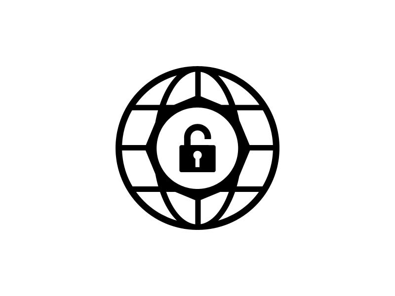 Unlocks logo black white unlocks world lock arrow octagon