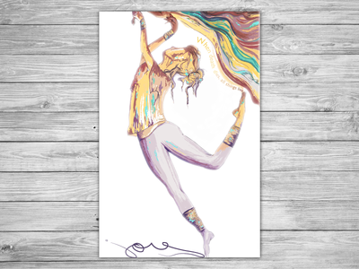 Joy poster abstract ribbon color dancing watercolor ballet painting illustration dancer joy design poster