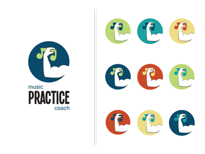 Music Practice Coach logo musician music note weight-lifting funny colorful coach practice music design logo