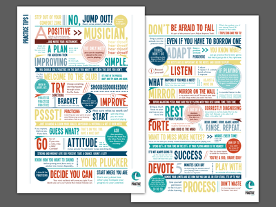 Music Practice Tips posters type-heavy colorful typography poster coach practice music logo