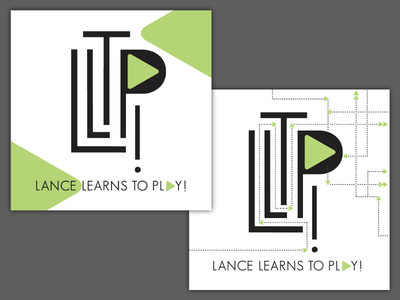 Lance Learns to Play! podcast covers geometric maze music play button identity logo cd design cover podcast