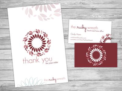 The Ruby Wreath postcard & bus. card thank you ruby hand-made home decor wreath business card postcard logo