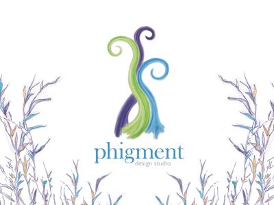 Phigment Design Studio logo imaginary reeds color hand-drawn illustrative studio figment design logo