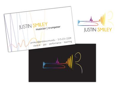 Trumpeter logo & business card gradient performance jazz classical music trumpeter trumpet design business card logo