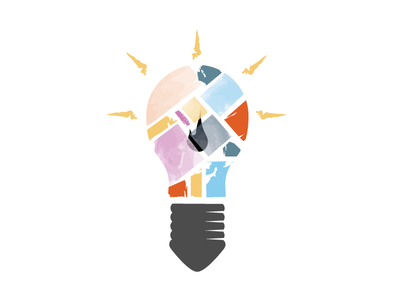 Arts Innovation Bulb creative ideas innovation arts decopage color design light bulb mark logo