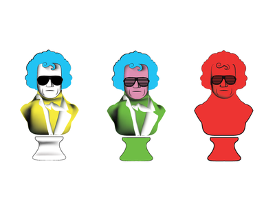 Andy Warhol-style classical busts funny modern art beethoven bust music classical andy warhol illustration