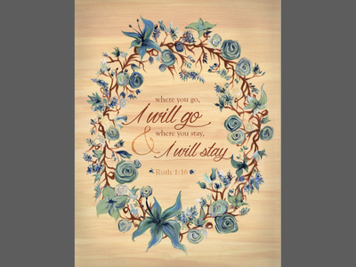 Hand-painted wreath poster 100 days project bible verse flowers green blue acrylic poster wreath painting