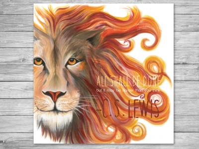 Aslan poster painting c.s. lewis 12x12 aslan lion poster