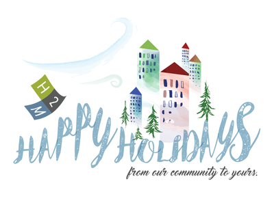 Company Holiday Card Illustration community houses snow winter architecture h2m corporate company illustration card christmas holiday