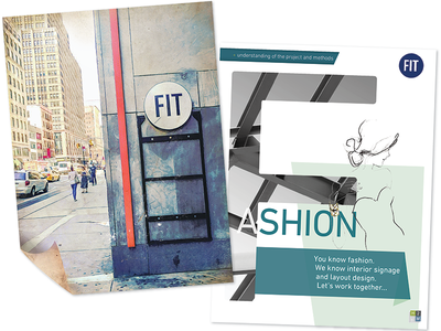 New York Fashion Institute Client Proposal spread cover layout client magazine proposal university new york fit fashion