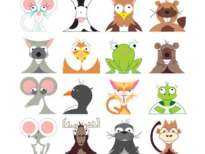 Animal Symbols icons humorous funny cartoon vector illustration character animals emoji symbol symbol set symbols