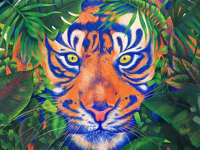 Menacée n°01 poscaart posca wildlife painting tigre
