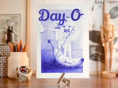 Day-O society art pointillism dessin ink artwork illustration dotart beetlejuice day-o