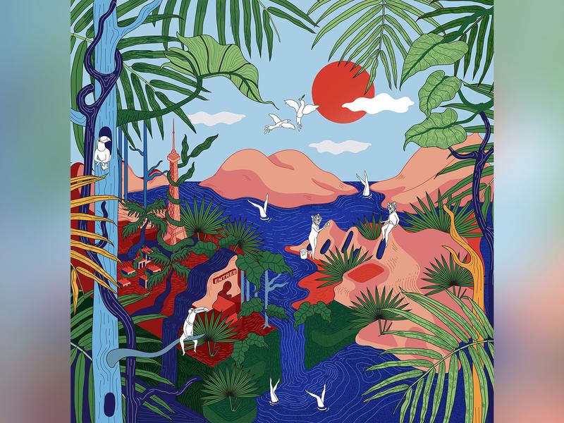 À nouveau sauvages color paris jungle digital art illustation