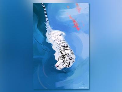 White Tiger wacom wacom intuos photoshop photoshop art draw white tiger tiger digital art concept art illustration