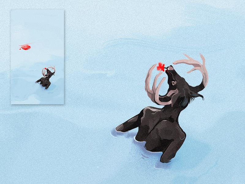 The Bath - Concept art digital art draw illustration concept art deer