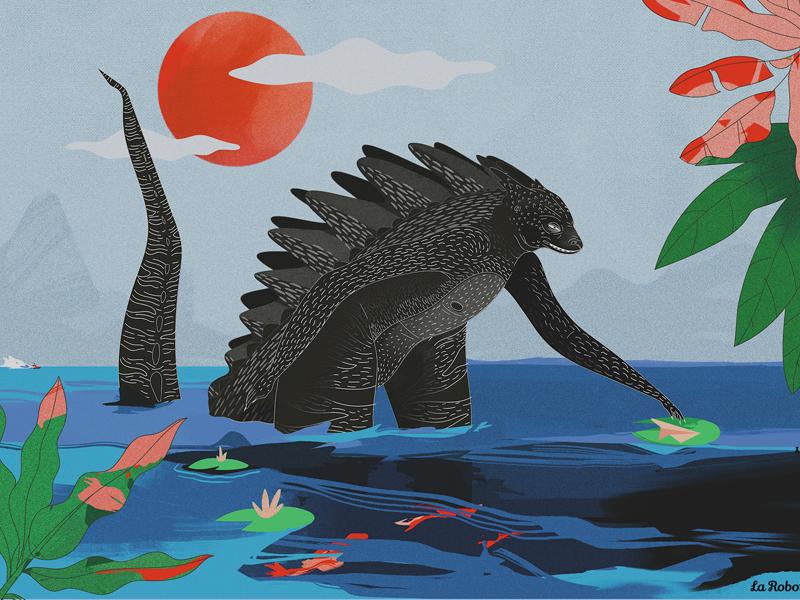 Godzilla in Annecy japan jungle creature illustration godzilla