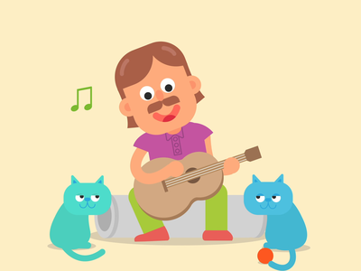 Singing with the cats vector art motion design school motion design motion graphic characterdesign illustrator 2danimation character explainer video illustration after effects animation