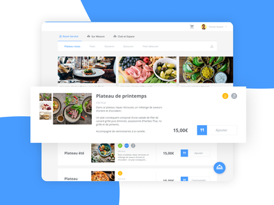 Meal delivery app desktop web ordering order food app foodie food list website cards blue minimalist minimal white app ux design ui