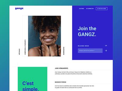 Gangz New Landing Page mobile website landingpage homepage minimal branding ux design ui