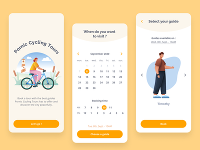 Pornic Cycling Tours - Tour booking app sapiens illustrations tour booking guide tourism sport cycle tours tour booking app minimal illustration app mobile ux design ui