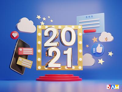 Happy New Year 2021 !! newyear 3d design illustration 2021 blender3dart blender 3d blender