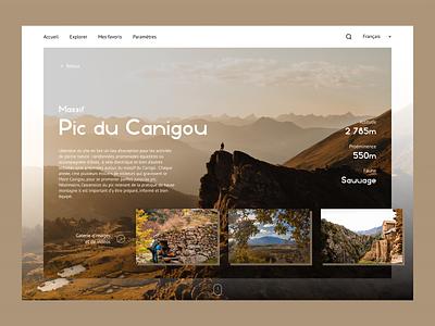 Web app to discover Pyrenees web app discover ui nature trip design