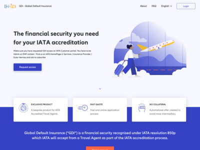 Landing page for GDI - Financial Security for Travel Agents