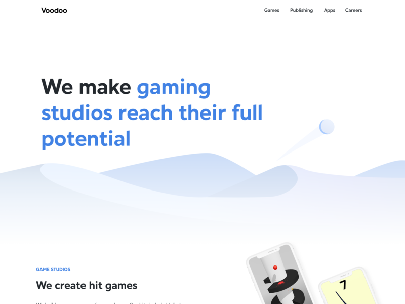 Voodoo New Home Page - Dune game animation animation responsive identity design mobile showcase website mobile apps mobile games home page landing page minimalist minimal white design illustration rebranding branding ui