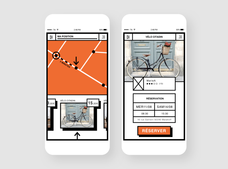 Bike Rental App Exercice bike home location position map list items slider product page design white retrogaming ui ux mobile video app brutalist