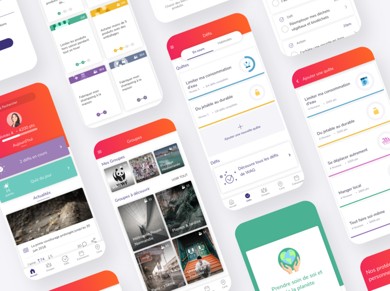 Eco-friendly Lifestyle App - WAG - We Act for Good list search bar level profile progressbar groups illustration navbar footer cards checkbox challenge newsfeed feed playful app design ux mobile ui
