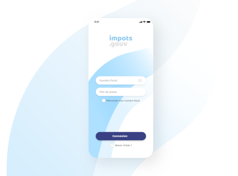 Warm login page - impots.gouv rework institution french simplicity white rework redesign design serious blue login page warm app ux mobile ui