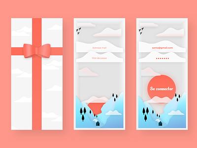 Christmas Login Screen Exercice animation mobile app warm design illustration ui concept login gift christmas