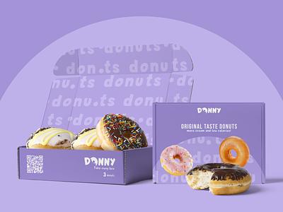 Donny | Logo and  take-away box design purple typography brand identity logo brand design packaging design packagedesign bakery takeaway sweets donuts box design packaging box