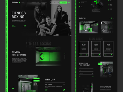 Website   Fitness box 🥊 movement workout web design sport green exercise design dark box activity healthy step work balance body training group personal club fitness