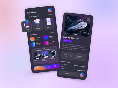 Mobile App   MyWishApp 👀 save help assistant gift ux ui favorite organizer gradient product design 3d icon wishlist interface app mobile
