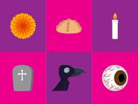 Set de elementos del día de muertos