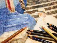 """Dibujo """"sentado al pie de las escaleras"""" (en proceso)"""