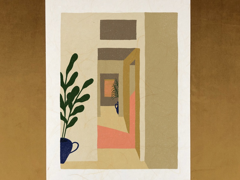 Hallway doorway pots plants interiors sunset light hand drawn architecture minimal retro bold vintage illustration