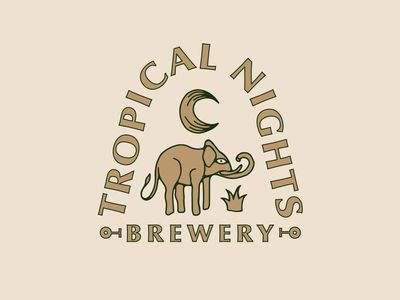 Tropical Nights Brewery alcohol beer tropical moon elephant retro lettering vector branding logo typography hand drawn illustration