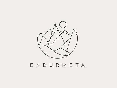 Endurmeta Logo icon revalue recycling ocean sun identity geometric iceland mountains vector logo branding illustration