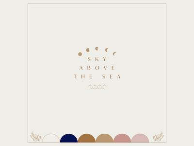 Sky Above the Sea logo florals color pallete colour palette moon ocean sea sky design retro logo branding illustration