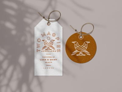 Two Magpies Jewellers - hang tags minimalism tags lineart birds packaging retro logo bold vintage typography illustration