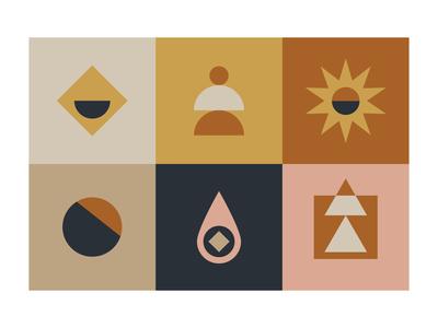 Icon Exploration 2 colourscheme grid icon icons pattern vector retro logo bold branding illustration