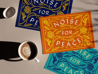 Noise For Peace roses hand drawn birds branding vector ink retro bold florals typography illustration